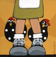 """THE FOUR OF US"" Whimsical Chickens Painting, Art by Annie Lane Folk Art"