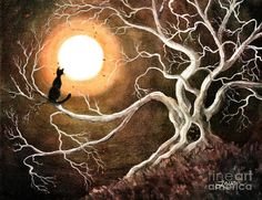 unique cat art | Black Cat In A Spooky Old Tree Digital Art