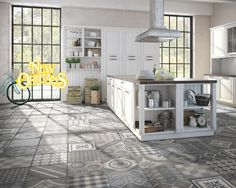 Tiles belong to the classic kitchen tile floor ideas. In many kitchens we find the classic white kitchen floor tiles, which are . Brick Floor Kitchen, White Kitchen Floor, Kitchen Flooring, Kitchen Tile, Tudor Kitchen, Classic White Kitchen, Stone Interior, Commercial Flooring, Floor Decor