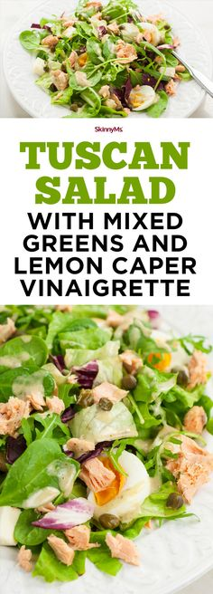 Tuscan Salad Recipe with Mixed Greens and Lemon Caper Vinaigrette