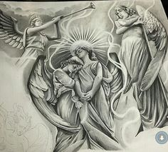 sketches of angels Chicano Art Tattoos, Body Art Tattoos, Sleeve Tattoos, Tatoos, Tattoo Sketches, Tattoo Drawings, Tattoo Studio, Calaveras Mexicanas Tattoo, Christus Tattoo