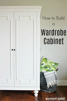 Under Stairs Closet Storage Plans Awesome How to Build A Diy Wardrobe Armoire Storage Cabinet with Shelves Wardrobe Storage Cabinet, Craft Storage Cabinets, Wardrobe Cabinets, Bedroom Storage, Tall Cabinet Storage, Garage Cabinets, Book Storage, Smart Storage, Closet Storage