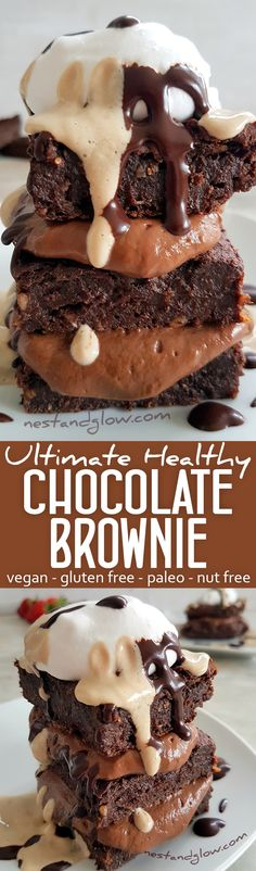 Ultimate Healthy Chocolate Brownie Recipe - vegan, gluten-free, paleo, nut free via @nestandglow