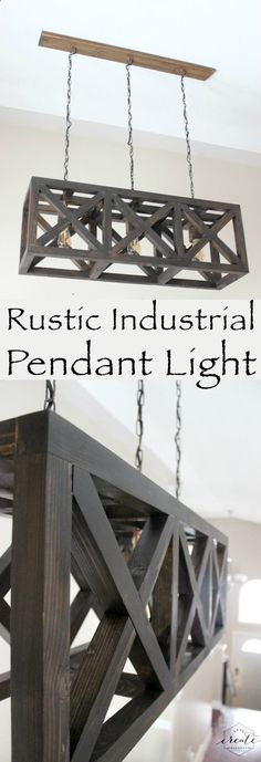 Easy DIY Reclaimed Wood Projects Rustic Industrial Pendant Light with free design plans for this beautiful DIY light fixture!Rustic Industrial Pendant Light with free design plans for this beautiful DIY light fixture! Kitchen Lighting Fixtures, Farmhouse Style Pendant Lights, Woodworking Projects Diy, Diy Home Decor, Diy Lighting, Rustic Industrial Pendant Lighting, Diy Light Fixtures, Rustic Diy Projects, Diy Woodworking