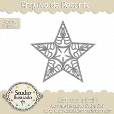 Estrela Tribal II, Estrela, Tribal,  Tribal, Star, Céu, estrelas, stary, estrelado, arquivo de recorte, corte regular, regular cut, svg, dxf, png, Studio Ilustrado, Silhouette, cutting file, cutting, cricut, scan n cut.