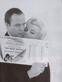 Marlon Brando with Marilyn Monroe at the premier of The Rose Tattoo 1955