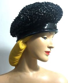 Uber MOD Black Glossy Sisal Bubble Hat w/ Patent Band circa 1960s - Dorothea's Closet Vintage
