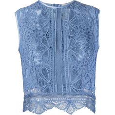 Martha Medeiros Sleeveless Crop Lace Top (€1.300) ❤ liked on Polyvore featuring tops, shirts, blue, blue shirt, no sleeve shirt, crew neck crop top, sleeveless crop top and blue lace shirt