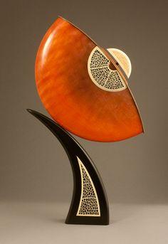"Alan Carter  ~  'Mandarin Spring' ~ Dyed figured maple, holly, sapele, painted poplar ~ 21""H x 12""W x 3""D"