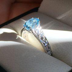 Engagement And Wedding Ring, Natural Aquamarine Engagement Ring, Diamond Wedding Ring, Vine And Leaf Pattern Rings, Aquamarine Wedding Ring by BridalRings on Etsy https://www.etsy.com/listing/254717229/engagement-and-wedding-ring-natural