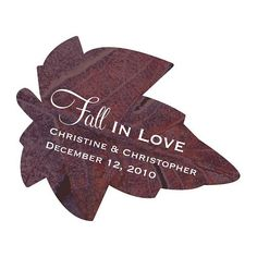 Add a custom touch to your fall wedding favors with these 2 x 1 personalized autumn leaf shaped favor stickers.  Personalize your stickers with up to two lines of text.  Add your names and wedding date or a special message to guests.
