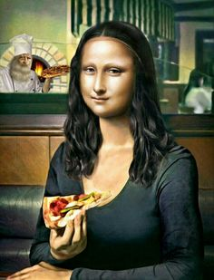 Mona pizza You are in the right place about Pizza box Here we offer you the most beautiful pictures about the Pizza girl you are looking for. When you examine the Mona pizza part of the picture you ca Mona Lisa Pizza, Lisa Gherardini, Mona Friends, Pizza Girls, Mona Lisa Parody, La Madone, Mona Lisa Smile, I Love Pizza, American Gothic