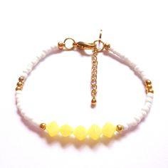 Gold, Yellow and White Seed Bead Bracelet - Beach Bracelet, Friendship Bracelet, Layering Bracelet, Stacking Bracelet, minimalist bracelet by SilverdropDesign on Etsy https://www.etsy.com/uk/listing/399296413/gold-yellow-and-white-seed-bead-bracelet
