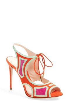 Colorful Nicholas Kirkwood lace up sandals: http://www.stylemepretty.com/2016/03/15/little-white-dress-wedding-bride/: