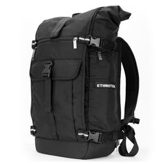 Ethnotek's Ballistic Black Raja Pack 30L Thread attaches to the main pack by Velcro and quick release buckles and can be swapped out with other Threads