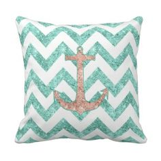 Shop Monogram Pink Glitter Nautical Anchor Teal Chevron Mouse Pad created by girly_trend. Teal Throws, Chevron Throw Pillows, Decorative Throw Pillows, Chevron Table, Teal Chevron, Anchor Wedding, Girl Bathrooms, Nautical Anchor, Monogram Design