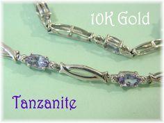 "10K White Gold - 2.70 Ct Tanzanite Gemstone Diamond Tennis Kisses 7 1/2"" Bracelet - Gift Box - Pretty Purple - Perfect Gift FREE SHIPPING by FindMeTreasures on Etsy"