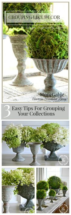 GROUPING LIKE DECOR- Ideas and tips for beautiful ways to group like objects!-stonegableblog.com