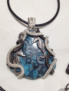 Under the sea dyed blue Agate with a by NoStoneLeftUnturned