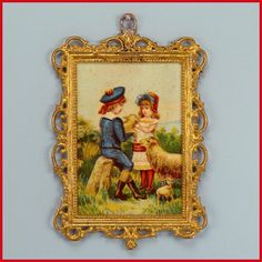 """Antique German Dollhouse Gilt Soft Metal Picture Frame with Lithograph Print of Boy and Girl with Sheep Late Victorian 1"""" Scale"""