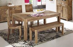 Toll aufeinander abgestimmt: SIT Wiam Esstisch mit 4 Stühlen und einer Bank aus edlem Sheesham Holz.