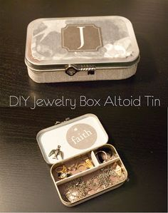 DIY Jewelry Ideas - DIY Jewelry Box Altoid Can - How To Make the Coolest Jewelry Ideas For Kids and Teens - Homemade Wooden and Plastic Jewelry Box Plans - Easy Cardboard Gift Ideas - Cheap Wall Makeo Jewelry Box Plans, Jewelry Ideas, Diy Jewelry Box, Diy Jewelry Organizer Box, Jewelry Box Makeover, Recycled Jewelry, Men's Jewelry, Jewlery, Jewerly Box Diy