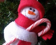 Your place to buy and sell all things handmade Snowman Christmas Ornaments, Purple Scarves, Blanket Stitch, Pink Hat, Candy Canes, Blue Bird, Gifs, Great Gifts, Handmade Items