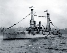 19-N-62-2-1: USS Idaho (Battleship # 24). Dressed with flags during the Naval Review off New York City, October 1912. Photograph from the Bureau of Ships Collection in the U.S. National Archives.