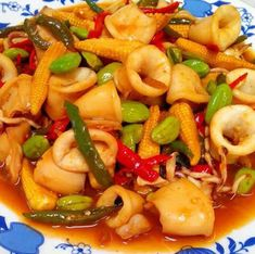 Resep Dan Cara Membuat Tumis Cumi, Petai + Baby Corn ( Jagung Kecil ) Pork Recipes, Seafood Recipes, Asian Recipes, Dinner Recipes, Cooking Recipes, Ethnic Recipes, Recipies, Malaysian Chicken Curry, Spicy Dishes