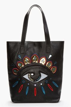 KENZO Black Leather Metallic Embroidered Eye Tote. Can't stop falling in love with your eyes.