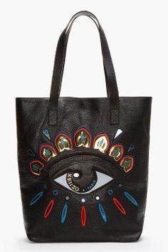 KENZO Black Leather Metallic Embroidered Eye Tote