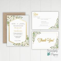 Watercolor Greenery Wedding Invitation  Ivory and greenery