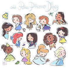 chibi disney princesses by david gilson Kawaii Disney, Chibi Disney, Art Disney, Disney Kunst, Disney And Dreamworks, Disney Movies, Punk Disney, Disney Ideas, Disney Girls