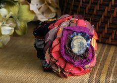 Fabric Flower Cuff Bracelet