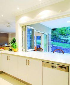 Kitchen bifold window servery