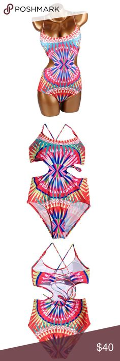 NEW one-piece. Mara Hoffman inspired pattern. Selling a KNOCK OFF Mara Hoffman one piece. Multi-colored, geometric print, fun colors. Lace-Up back & side cutouts. Never worn! Swim One Pieces