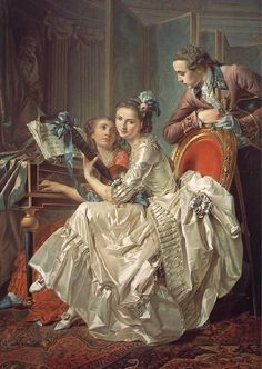 Forget the emotion behind the front subject...check out her dress!!! Trinquesse, Le concert, 1774)