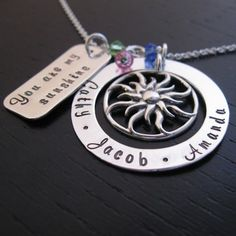 """Brisa """"you are my sunshine"""" mother necklace with sterling sun charm"""