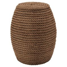 Stool with a coiled rope design and wood frame.  Product: StoolConstruction Material: Wood and ropeC...