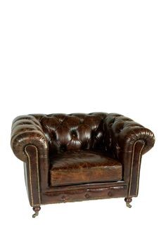 Chesterfield Vintage Leather Sofa Chair Antique Leather Sofa N73