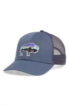 Patagonia Fitz Roy Bison Trucker Hat In Grey Buffalo Logo, Patagonia Logo, Spirit Wear, Logo Color, Hats For Men, Cotton Canvas, Bison, Organic Cotton, Baseball Hats