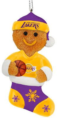 Los Angeles Lakers Basketball Gingerbread Man in Stocking Christmas Ornament | eBay