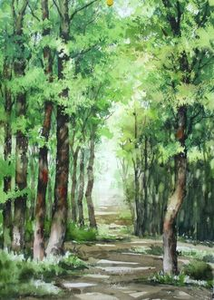 Beautiful watercolor painting of trees lining a forest path. Watercolor Landscape Paintings, Watercolor Trees, Landscape Art, Watercolor Artists, Abstract Paintings, Oil Paintings, Painting Art, Acrylic Painting Techniques, Painting Lessons