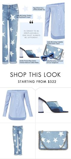"""203. Stars & Stripes"" by xiandrina ❤ liked on Polyvore featuring rag & bone, Amélie Pichard, STELLA McCARTNEY, Clutch, boyfriendjeans, mules and offshouldertop"