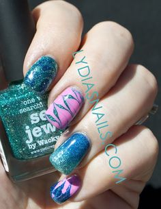 piCture pOlish Blog Fest 2013 mani art by Lydia's Nails!  Features Sea Jewel, Cosmos & Candy!  www.picturepolish.com.au