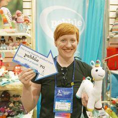 Pebble's Unicorn is a Ruckus and Glee (Wauwatosa WI) favorite.  #astratoy #astra2016 #unicorn #crochet @astratoy #fairtrade @ruckusandglee