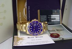 Swiss Watches ROLEX - 18kt Gold SUBMARINER Blue CERAMIC Model ...