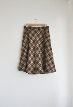 Vtg. Brown Tartan Wool Skirt Sz. M by GenerationCollective on Etsy, $34.00