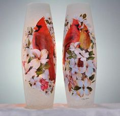 Stony Creek Spring Cardinal Collection Lighted Tall Vase 2 Styles