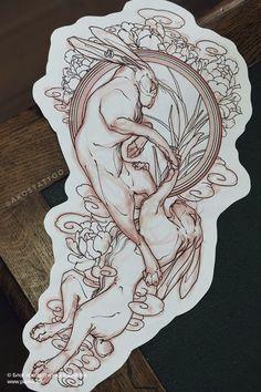 Tattoo Sketches, Tattoo Drawings, Neo Traditional Tattoo, Hare, Occult, Tattoo Inspiration, Tattos, Blackwork, Old School